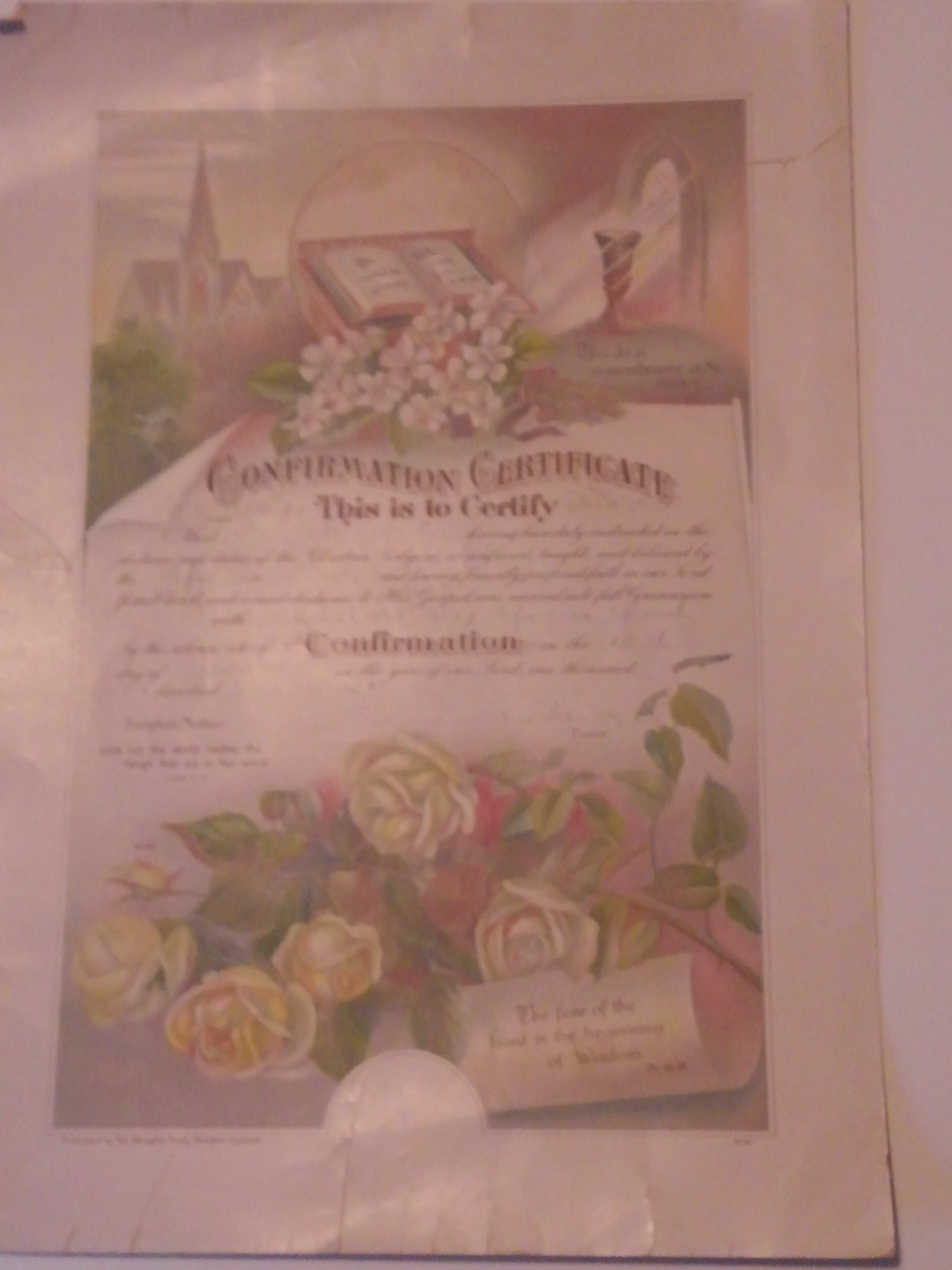 Confirmation Certificaqte Amy Ellen Bohn 10-13-1917